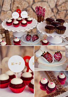 valentine wedding, valentine day, chocolate covered strawberries, mini cupcakes, wedding desserts, dessert ideas, wedding dessert tables, valentines day party, desert tables