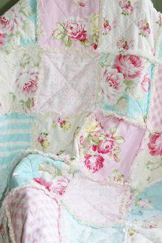 Crib Rag Quilt Baby Girl Crib Bedding Shabby Chic Nursery Sunshine Roses Tanya Whelan Ready to Ship