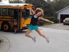 Favorite back to school photo this year!  Some of us cry at the bus stop, some of us don't!