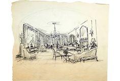 Drawing Room w/chandelier