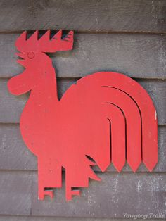 The rooster design at Rathom Lodge on the Orange Trail at Camp #Yawgoog, Rockville, Hopkinton, Rhode Island (RI).  A 2012 image by David R. Brierley.