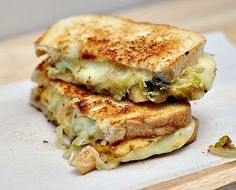 Grilled Cheese Sandwich With Pickled Brussels Sprouts & Onions