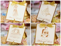 Disney Prince and Princess reception table cards with gold bow