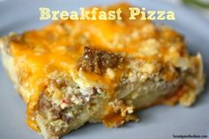 Breakfast Pizza with hash browns, cheese, eggs and sausage