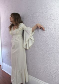 VTG Hippie Wedding Dress 1970s butterfly sleeves by PaisleyBabylon, $148.00