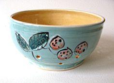 Stoneware Colander Aqua Peach Leaf and Berries by JoyceSloanim, $30.00