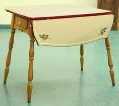 Antique Enamel Top Table | 1920's drop leaf kitchen table, heavy steel top