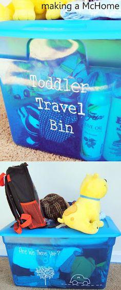 Toddler Travel Bin. Packing help. Personalize the bin! Roadtrip!