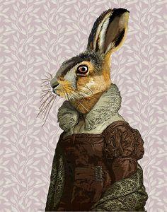 Señora liebre 14 x 11 Original ilustración Art Print por LoopyLolly, $36.00