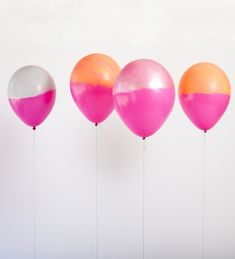 Dip-dyed balloons. color, balloon party, handmade gifts, balloons, handmade crafts, handmade soaps, handmade jewelry, handmade journals, parti