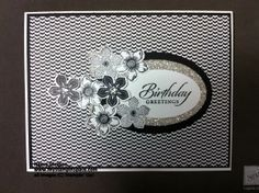 January 9, 2014 My Stamping Space: Birthday Bling Silver Glimmer Paper, Petite Petals stamp  punch