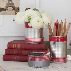 Office organisation with repurposed tin cans.
