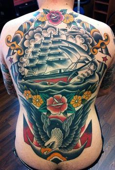 Massive nautical themed back piece // traditional style tattoos // Samuele Briganti