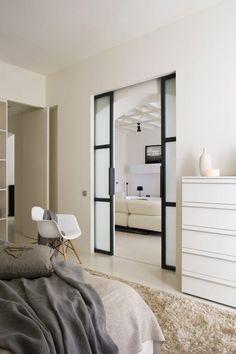 sliding doors to the bedroom