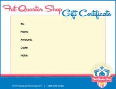 Fat Quarter Shop Gift Certificate