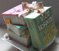 Nick Hornby Book Cake. Love it!