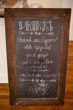 Drinks chalkboard menu