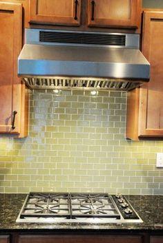 Green Glass Tile Kitchen Backsplash - The Polkadot Chair