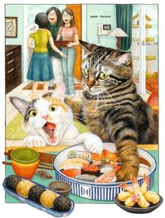 Cats stealing sushi art graphic