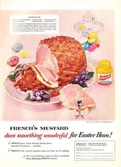 A beautifully pastel hued Easter time ad from the 50s for Frenches Mustard. #ham #mustard #food #cooking #meal #meat #ad #vintage #retro #Easter #kitsch #1950s #50s #fifties
