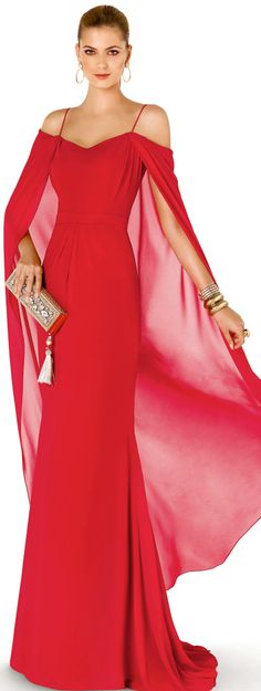 Lady in RED...Pronovias Cocktail Collection 2015 red evening gown