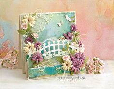 From our Design Team - Card by Klaudia. Dies : Wrought Iron Fence Die, Berry Flourish, Water Lily Die, Heart Doily Border Die. www.lalalandcrafts.com