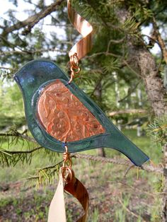 Sparrow Fused Glass and Copper Spinner by MountinDesigns on Etsy, $40.00