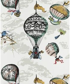 houses, balloon wallpap, pattern, schumach, wallpapers, claridg hous, hot air balloons, kid room, design
