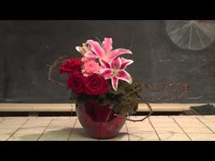 How To Make an Elaborate Valentine's Day Flower Arrangement--from Rittners Floral School, in Boston, MA  www.floralschool.com