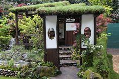 Asian inspired green roof arbor