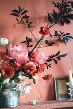 wall colors, pink flowers, coral, bouquets, peach, paint colors, floral arrangements, branches, peoni