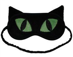 Black Cat Sleep Mask with Green Eyes