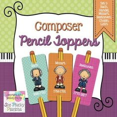 Composer Pencil Toppers Set 1: Bach, Handel, Mozart, Beethoven, Chopin, & Liszt #composers #penciltoppers #music #incentive #pianist #piano #tpt #elementarymusic #musiced