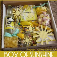 A Good Gift to Lift Spirits: A box of sunshine, make one yourself for someone that needs a little sunshine