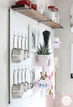 DIY: pegboard kitchen storage