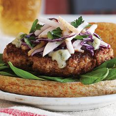 Pork Burgers with Asian Pear Slaw & Gorgonzola - Clean Eating - Clean Eating