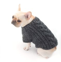 Dress your best friend in style with our Cabled Dog Cardigan, made with Wool-Ease Thick & Quick! Free knit pattern.