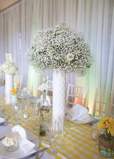 Tall, White Centerpiece // Photo: Roohi Photography // Event Planner: Alchemy Hour Designs // Venue: Barrington Hill