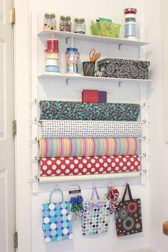 DIY Gift Wrap Station. #DIY #organize crafts #DIY #organize #beads #DIY #organize #fabric #DIY #organize #ribbon #DIY #organize #felt #DIY #organize #glue #DIY #organize #paint #DIY #organize #crafts #DIY #organize #yarn #DIY #organize #thread #DIY #organize #craft #space #DIY #craft #storage