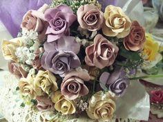 (LAVENDER) 12+ Pretty Handmade Clay Rose Victorian Bouquet