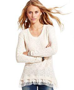American Rag Juniors Sweater, Long Sleeve Tiered - Juniors Tops - Macy's