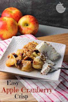 Easy Apple Cranberry Crisp:  A classic dessert perfect for Fall! #allstarsPam