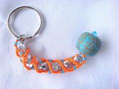 Teal and Orange Beaded Keychain/ Miami by LittleGemsandMore, $10.00
