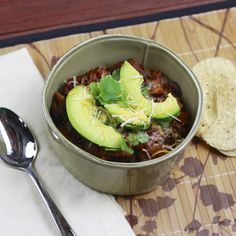 Slow Cooker Sweet Potato Black Bean Chili with Avocado