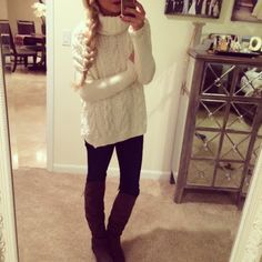 Sweater weather with leggings and warm fuzzy boots !