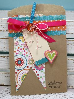 Celebrate Today Decorated Paper Bag Gift Sack perfect for small gift or Gift Cards with Glittered Clothespin. $5.75, via Etsy.