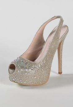 "High heel sparkle sandal features:• 5.5"" heel• 2"" hidden platform with glitter and stones• Elastic ankle strap• Padded insole• Medium width only"