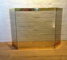 Brass & Smoked Glass Fireplace Screen image 2
