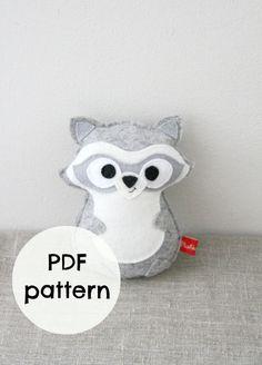 Raccoon felt toy, plush, forest animal, PDF pattern, sewing pattern