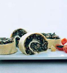 Egg Roulade Stuffed with Turkey Sausage, Mushrooms, and Spinach from Epicurious.com #myplate #veggie #protein